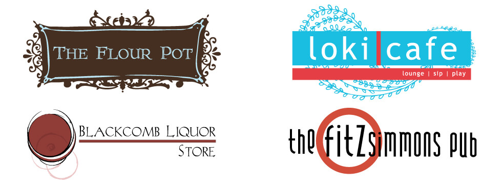 Logo Design and Branding for The Flour Pot Bakery, Loki Cafe, Blackcomb Liquor Store and The Fitzsimmons Pub